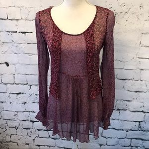 CAbi Sheer Long Sleeve Floral Blouse Size S